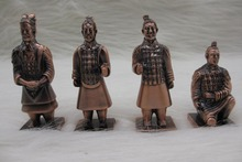 Antique Copper Plated Metal Crafts Chinese Style The Terra Cotta Warriors Statue Sculpture Desk Decoration(China (Mainland))