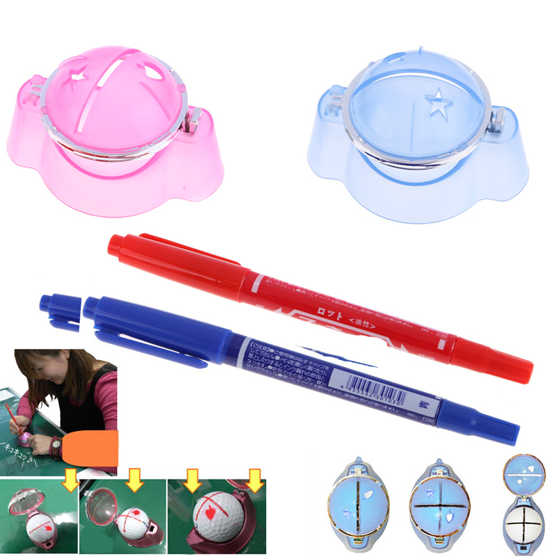 Excellent quality Golf Ball Liner Marker Template Drawing Alignment Tool + Pen Training Golf Accessories Practice Set Plastic(China (Mainland))