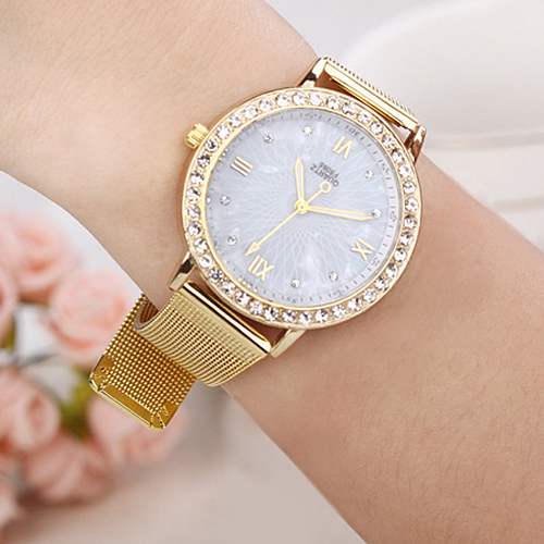 Гаджет  Elegant Ladies Crystal Roman Numerals Golden Plated Metal Mesh Band Business Wrist Watch Hot None Часы