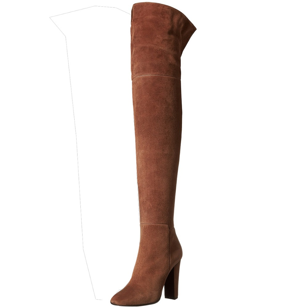 New Design Women Over Knee Boots Flock Elegant Round Toe Square Heels Boots Nubuck Leather Shoes Woman Plus Size 4-15(China (Mainland))