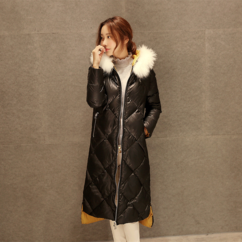 2015 new  female fox fur jacket long section 90 white duck down slim thick warm overcoat thickening Women Female Warm Clothes