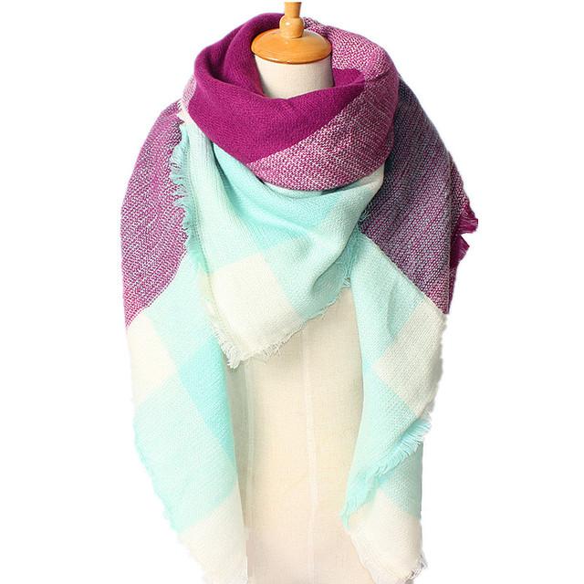 2016 новое поступление зима мода женщин бренд дизайн геометрия плед сочетание цветов кисти площадь толстые теплые кашемира 140 * 140 см