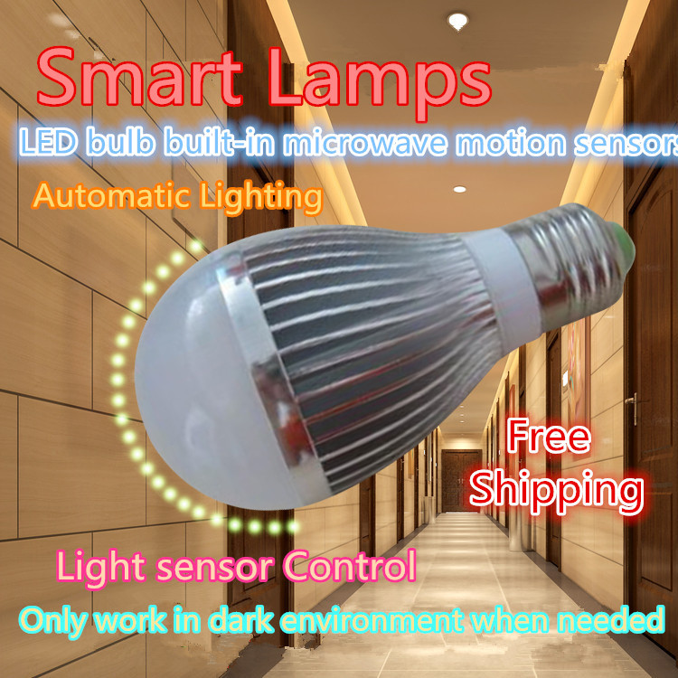 2015 special  E27 LED light bulbs smart motion& ambient light sensor  lamp AC85-265V input stairs warehouse light(China (Mainland))