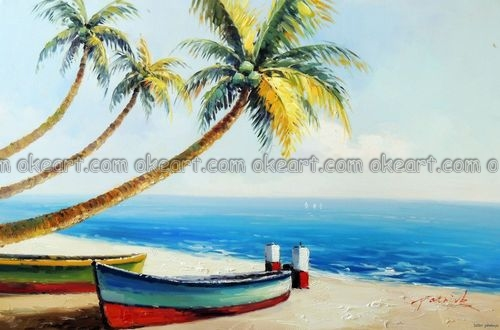 100% hand painted Caribbean Beach Boat Sand White Coral Palm Tree Tropical Resort Lge Oil Painting free shipping(China (Mainland))