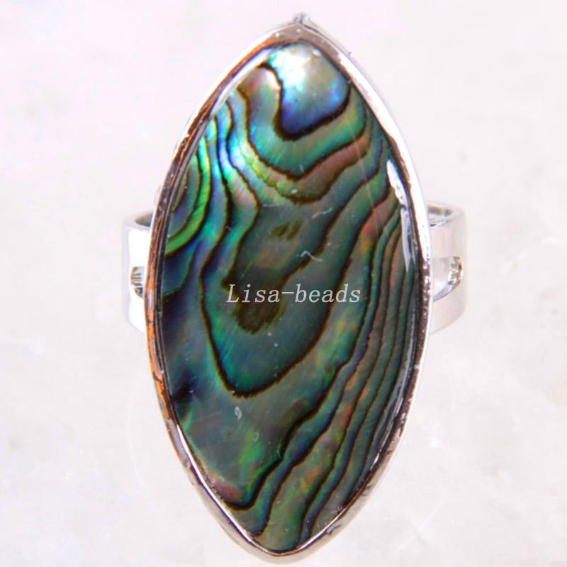 1Pcs Free Shipping Fashion Jewelry Olive Natural Blue New Zealand Abalone Shell Ring Adjustable Z263(China (Mainland))