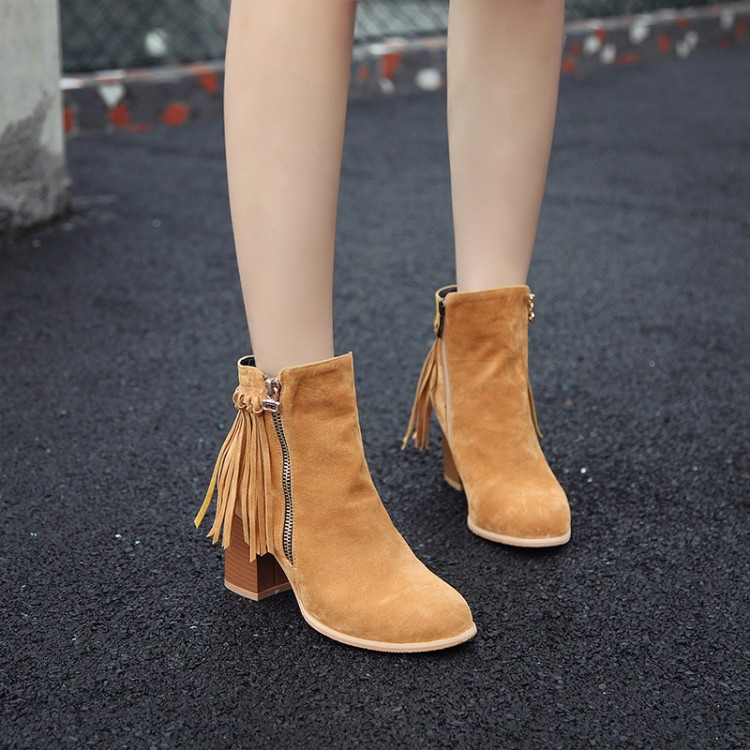 Ankle Suede Boots Tassel Nubuck Leather Big Size Yellow Black Gray Brown High Heels Short Boot Casual Winter Autumn Shoes DL6-18(China (Mainland))