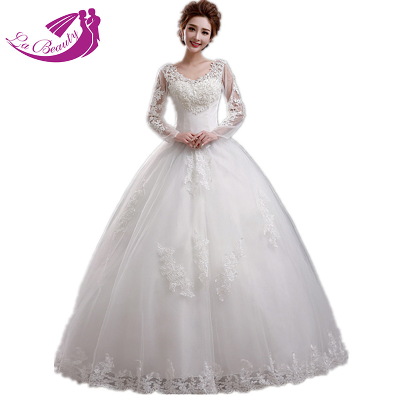 Buy Fashionable White Wedding Dress Bride Appliques Lace Wed