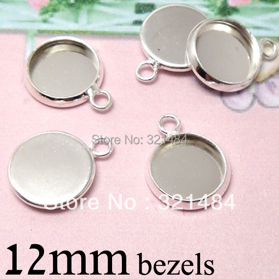 Bulk Silver plated Round Pendant tray bezel blank Cup Charm Findings, 12mm Cameo Base Settings w/ Horizontal Loop for Cabochons<br><br>Aliexpress