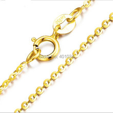18ct yellow gold chain necklace,18k 1mm round cable chain with spring clasp,golden bijoux jewelry for women 2015 trendy string(China (Mainland))