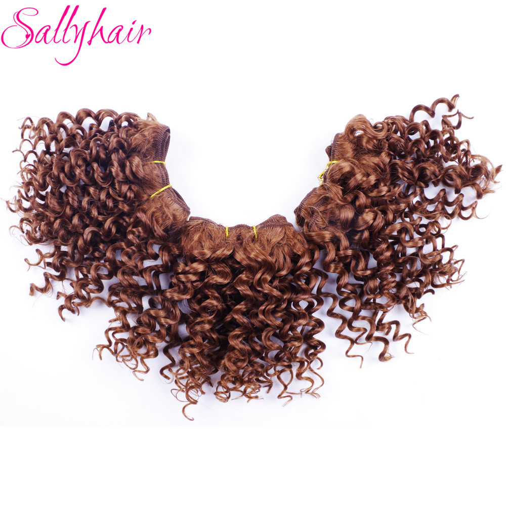 Sallyhair Ombre Color Afro Kinky Curly Crochet Hair Weave Mixed Black Burgundy Synthetic Hair Extensions 3pclot Hair Weavings  (23)