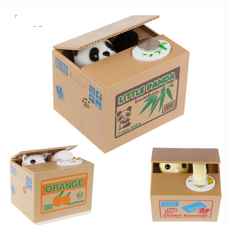 2016 Super Cute Stole Coin Piggy Bank Yellow / White Cat Money Box 11.5x9.5x9cm Money Saving Box Moneybox Gifts For Kids(China (Mainland))