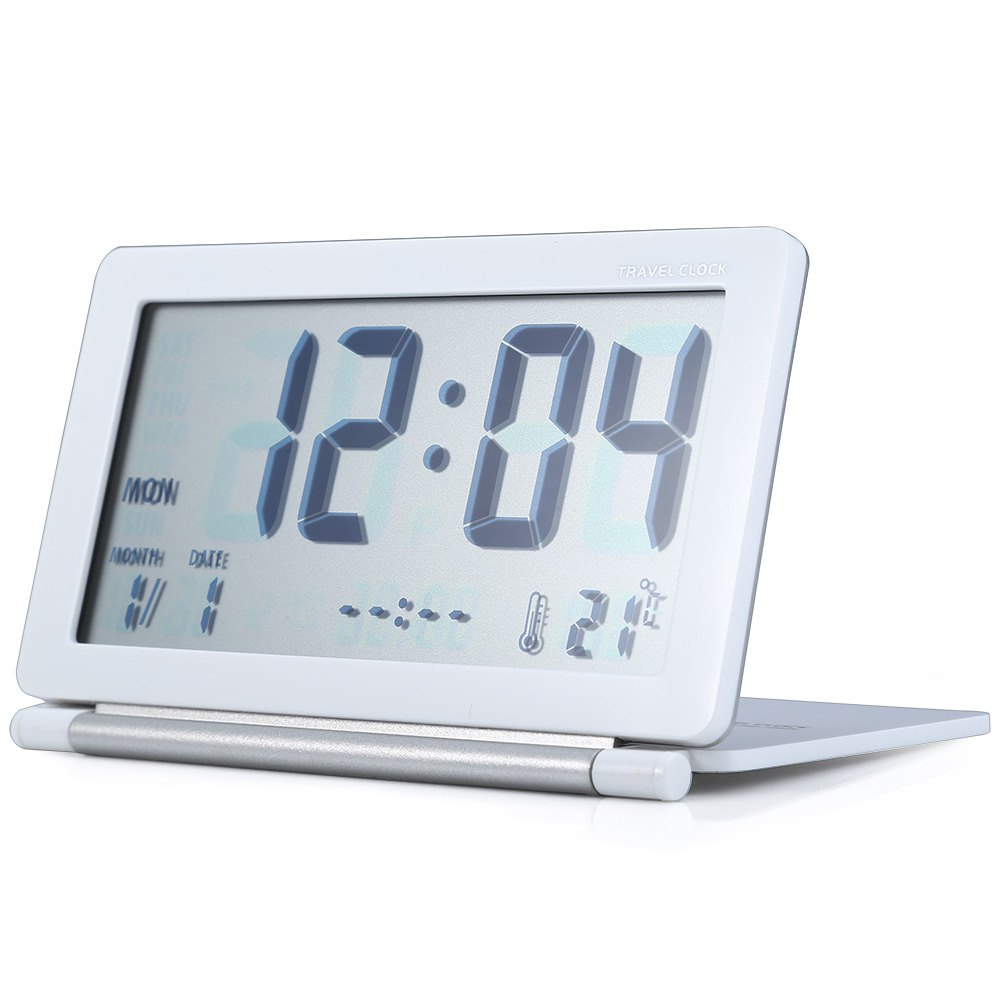 Portable Travel Alarm Clock Lcd Display Time Calendar