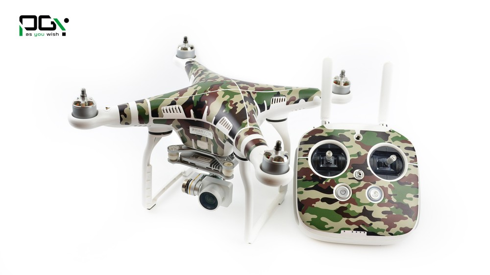 PGY PVC Forest camouflage Skin For DJI Phantom 3 Waterproof 3M Sticker skins decals labels professional Drone parts CA3