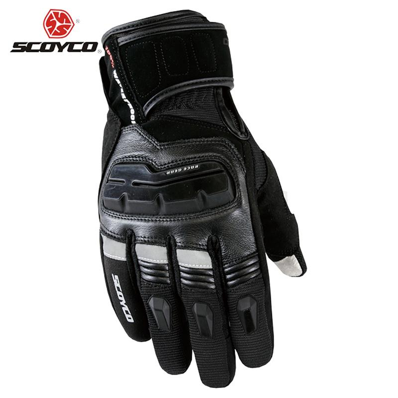 SCOYCO Men's Genuine Cow Leather Motorcycle Touch Screen Gloves Waterproof Windproof Warm Winter Motorbike Racing Riding Gloves(China (Mainland))
