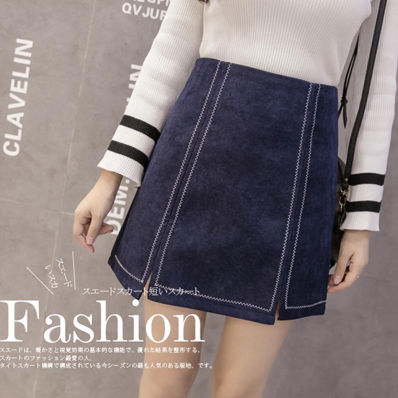 2017 spring autumn new Korean version fashion Sweet casual Wild Suede A-line woman girl skirt big size S-3XL mini skirt