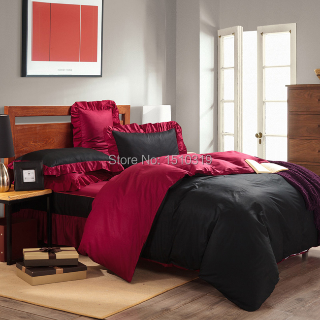 4PCS Bedding Sets 100% Cotton Black and Red Duvet Cover Pillowcase Ruffles Badcover With Bedskirts For Full Queen Size(China (Mainland))