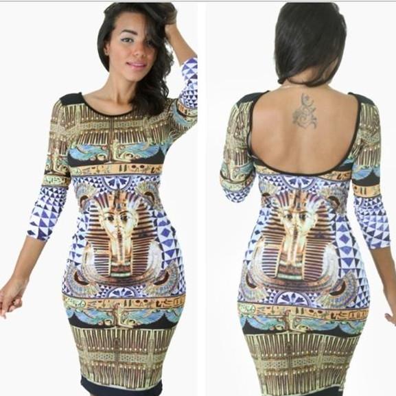 T v tements de style pour femmes pharaon gyptien imprim bureau robe vintage crayon casual - Vetement de bureau pour femme ...