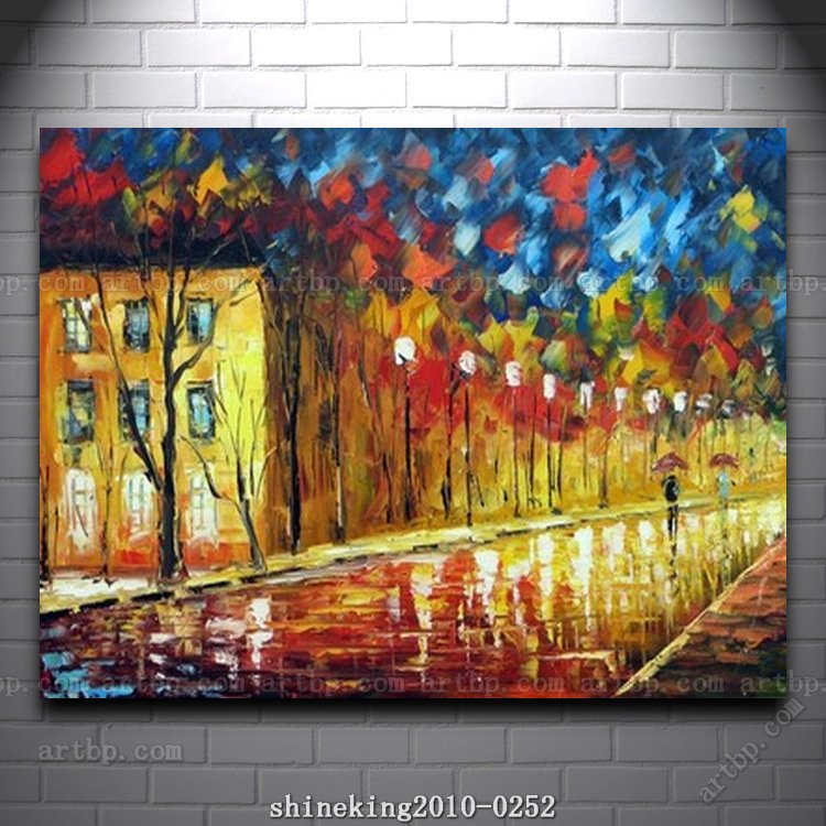 Colorful Kitchen Wall Art: Colorful Palette Knife Oil Painting On Canvas Modern