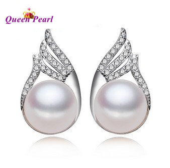 HOT CHEAP SALE!!! 4 COLOR Real Freshwater Pearl Earrings 925 Silver Stud Earrings Fashion Girls' Female Lady's Jewelry Nice Gift(China (Mainland))