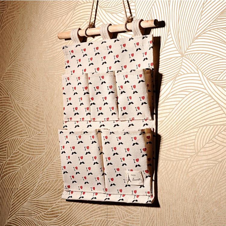 Home organizer hanging storage bags handmade bags for phone & sundries behind doors linen storage bag decorative free shipping(China (Mainland))