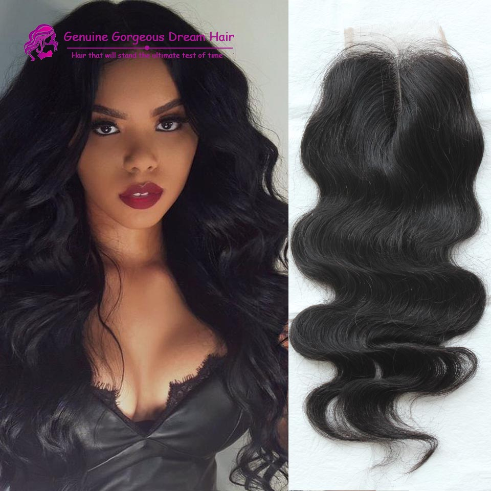 Natural Black Color 7A Peruvian Lace Closure Bleached Knots 4*4 Body Wave Human Hair Closure With Baby Hair Middle Front Closure<br><br>Aliexpress