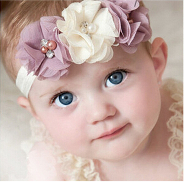 Гаджет  New Style Baby Rhinestone Headband Ribbon Pearl diamond Baby Girls Hand sewing Flowers Headbands Kids Hair Accessories  W--045 None Одежда и аксессуары