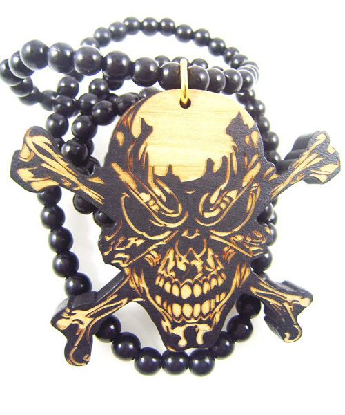 Demon Skull Necklace Good Wood Beads Pendants Necklace Hip Hop Punk Style Fashion Jewelry MP005(China (Mainland))