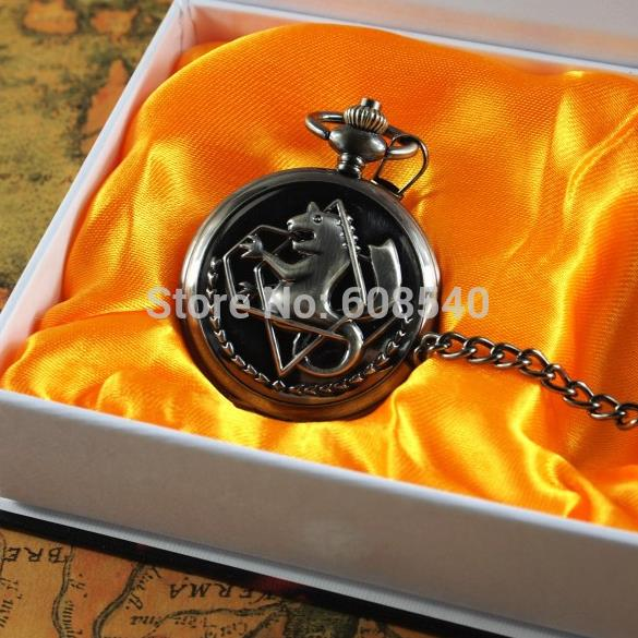 New Gif Boxed Fullmetal Alchemist Edward Elric's Pocket Watch with chain Cosplay Anime boys Gift AE00069(China (Mainland))