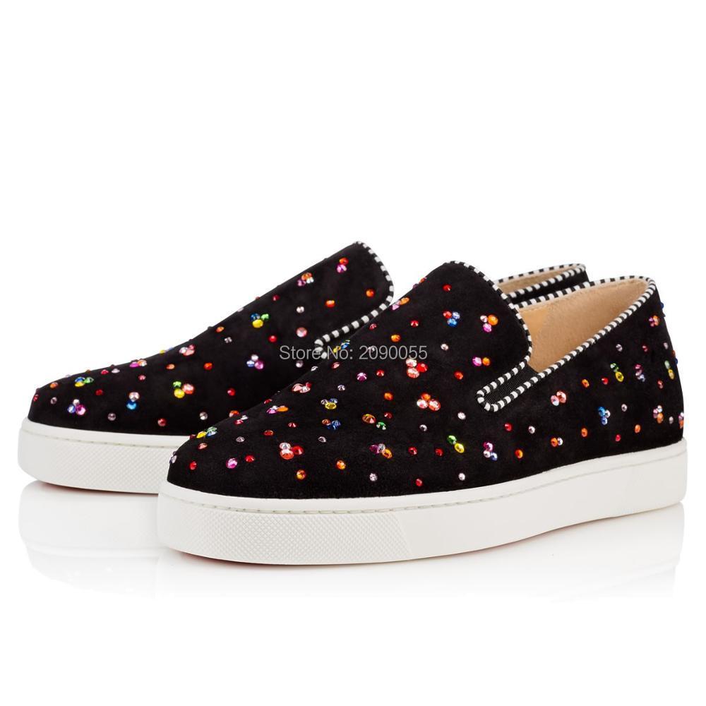 2016 Latest Fashion Slip On Lazy Men Or Women Shoes Rhinestone Embellished Suede High Quality