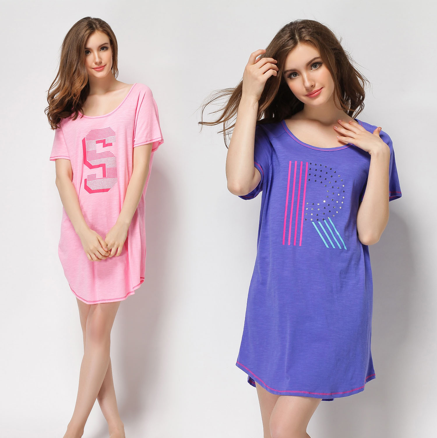 Summer Cotton Short Sleeve Female Nightgown Maternity