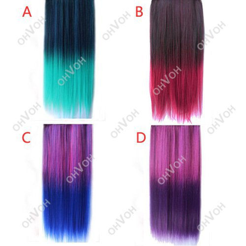 Rainbow Women's Hair Wigs Extensions Straight Synthetic Clip In On(China (Mainland))