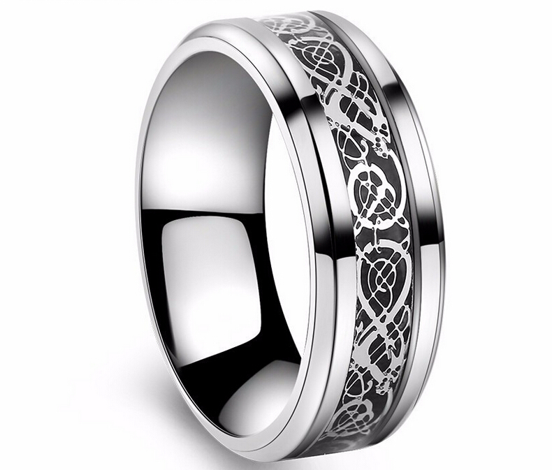 Dragon Domineering Hollow Golden silver Nibelungen 316L Stainless Steel wedding rings for men women wholesale free shipping(China (Mainland))