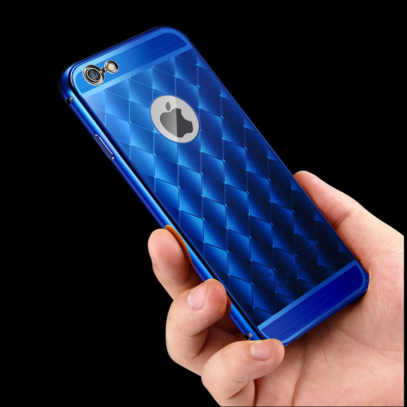 6plus Case, New 2015 Aluminum Cases Case For Iphone 6 plus 5.5 inch Luxury Purple Colorful Plaid Pattern Cover Fundas Capas(China (Mainland))
