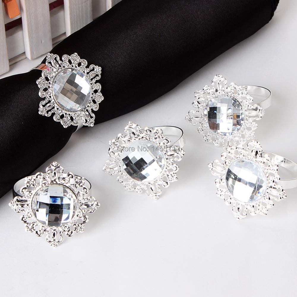 12pc New Diamond Napkin Ring Serviette Holder Wedding Banquet Dinner Decor Favor(China (Mainland))
