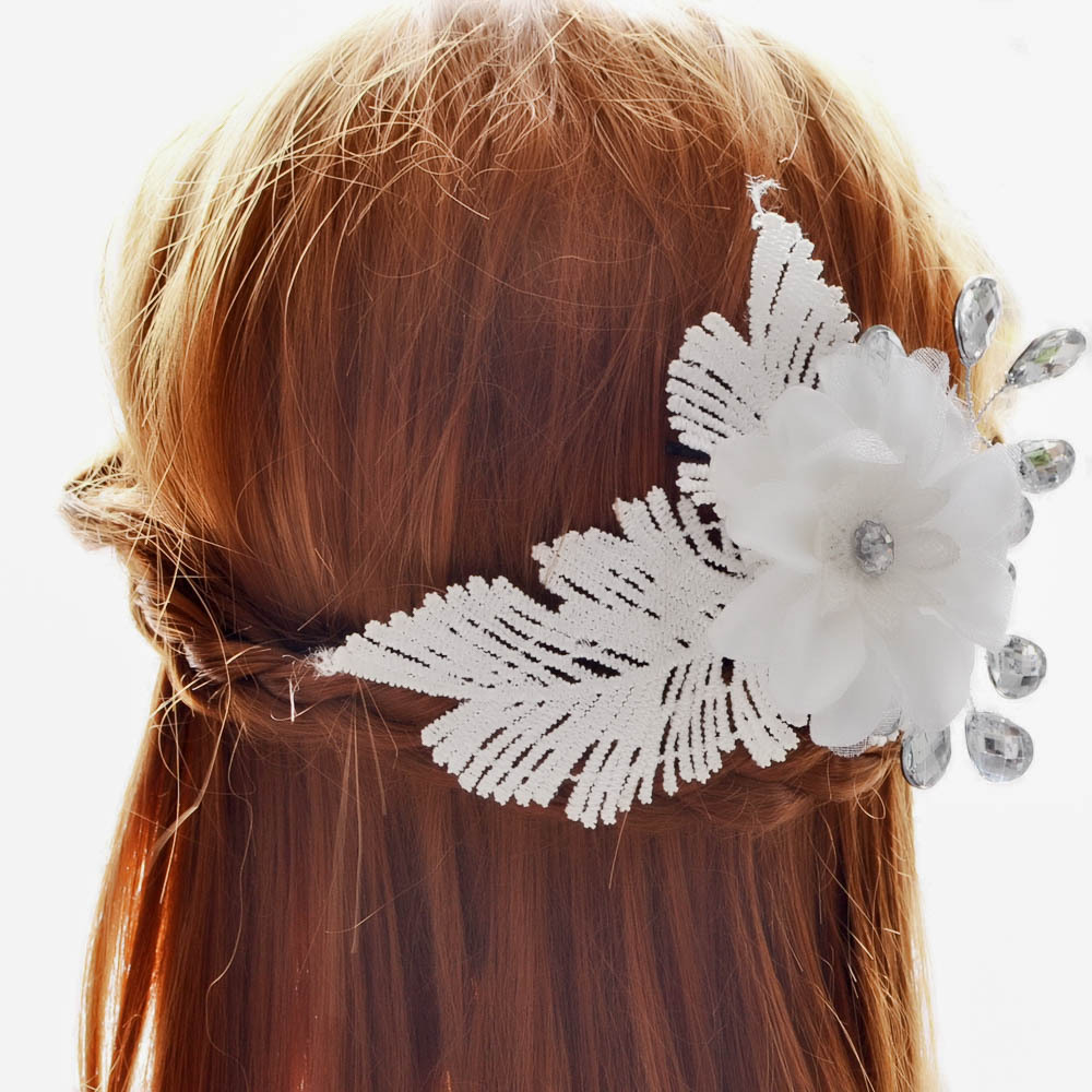 Bridal Boutique Headdress Fashion White Lace Feather Flowers And Simple Crystal Hair Accessories Swan Angel Headdress Props(China (Mainland))