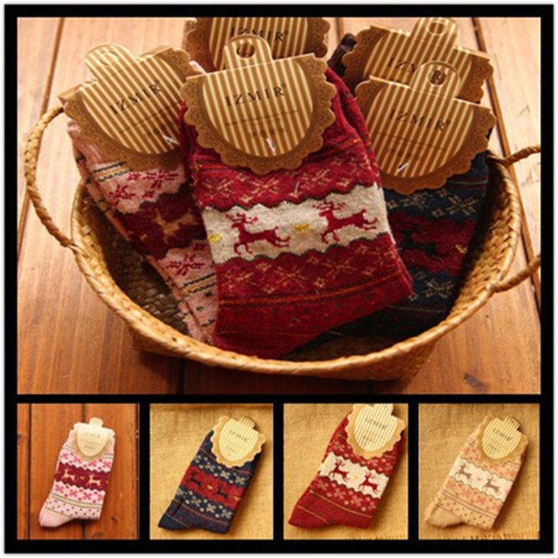 Lady Girl New Xmas Christmas Snow flake Wool Blend Deer Design Womens Winter Warm Wool Socks Gifts(China (Mainland))