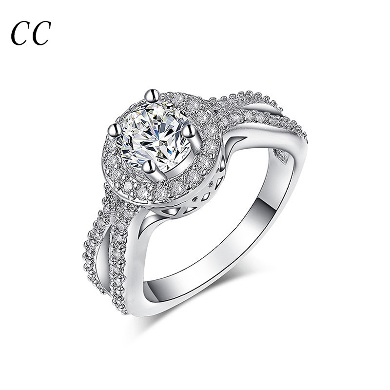 White gold plated chic accessories aaa zirconia diamond big ring for women wedding party engagement fashion jewelry CCR161(China (Mainland))