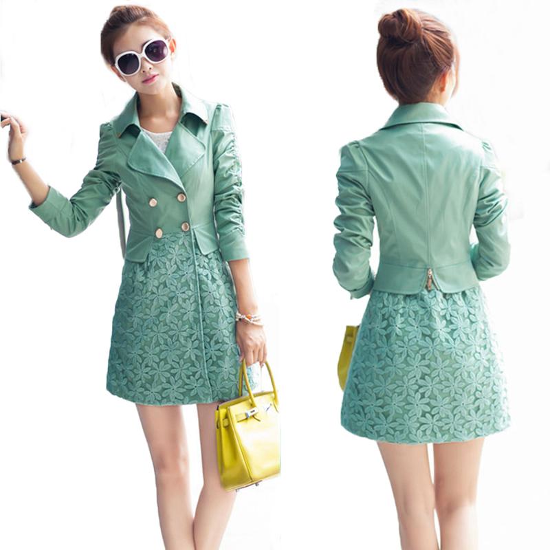 Здесь можно купить  2015 Autumn Woman Desigual Trench Coat Medium-long Plus Size Elegant Slim Lace Patchwork Trench Coat  Woman Outerwear Overcoat  Одежда и аксессуары