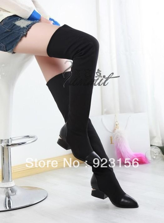 Fashion girls 2013 new design black color suede flat over knee drop ship boots with low heel slim boots(China (Mainland))