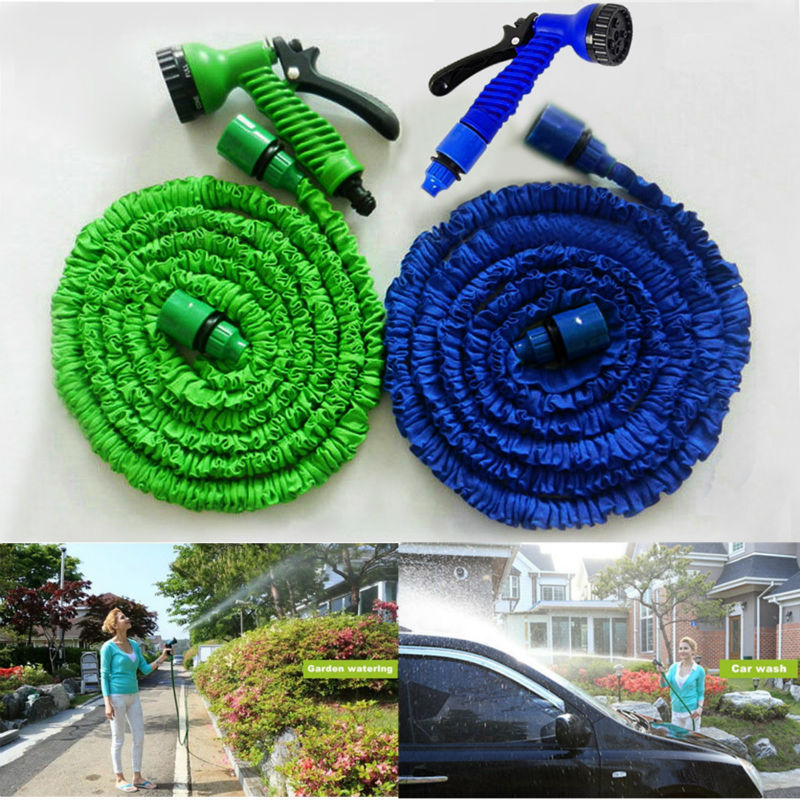25FT 50FT 75FT 100FT Expandable Flexible Water Garden Hose Pipe valve High Pressure Washer Gun Car Wash+Spray Nozzle(China (Mainland))