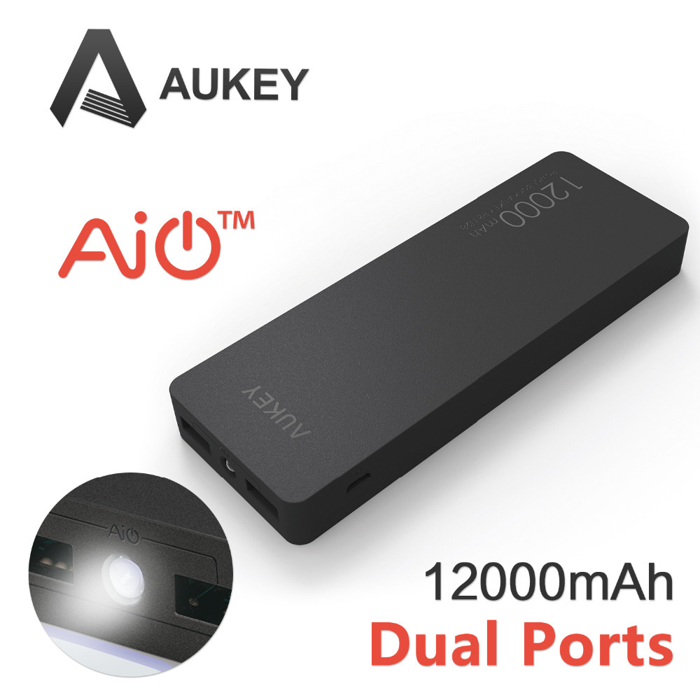 Aukey 12000mAh Portable Power Bank Charger External Battery Pack with AIPower Tech for Apple Android and USB Powered Devices(China (Mainland))