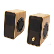 2Pcs Hi-fi Bamboo Mini Multimedia Speaker Bass Stereo Portable Speaker With USB Powered