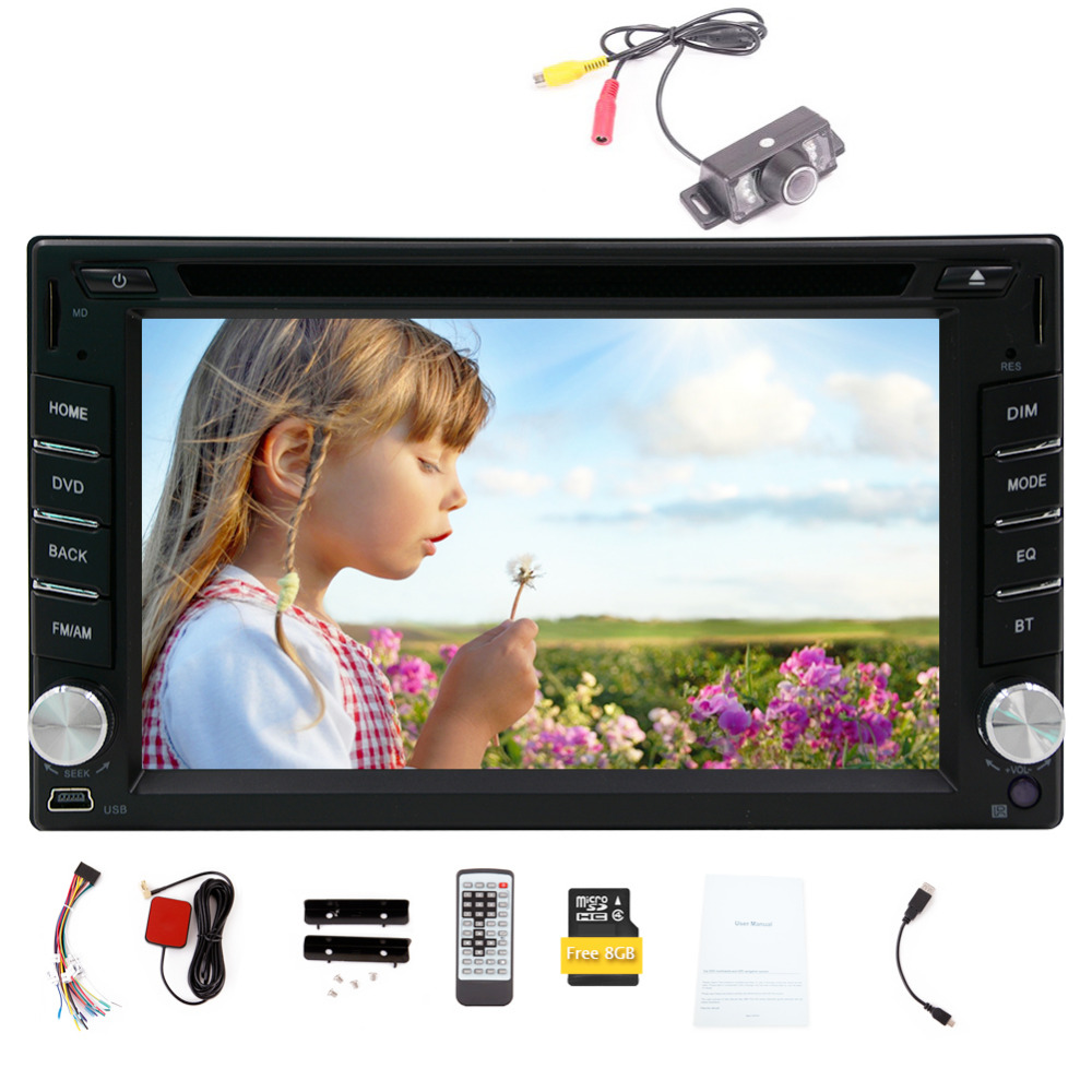 Wireless Camera is included ! 6.2-inch Car DVD Player Double DIN Bluetooth Gps Navigation for Universal Car Free Backup Camera(China (Mainland))