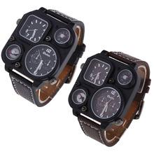 Nueva moda OULM plaza militar del ejército compás zona horaria Dual movimiento hombres de cuero de cuarzo reloj de pulsera