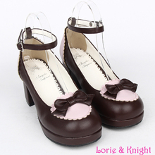Lolita Maid Cosplay Girls Chunky Heel Ankle Strap Sweet Bowknot Shoes BLACK/PINK/BROWN