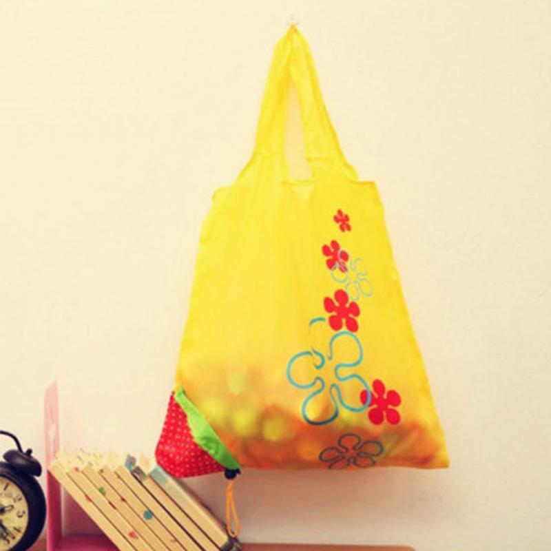 Eco Storage Handbag Strawberry Foldable Shopping Bags Beautiful Reusable Bag High Quality Hot 8 colors(China (Mainland))