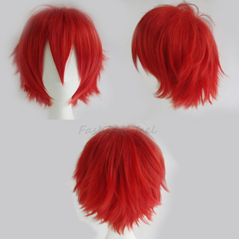 Boys Girls Fashion Cosplay Party Short Synthetic Hair Wig Heat Resistant Hot Red Full Head Wigs Super Style New Fancy Dress(China (Mainland))