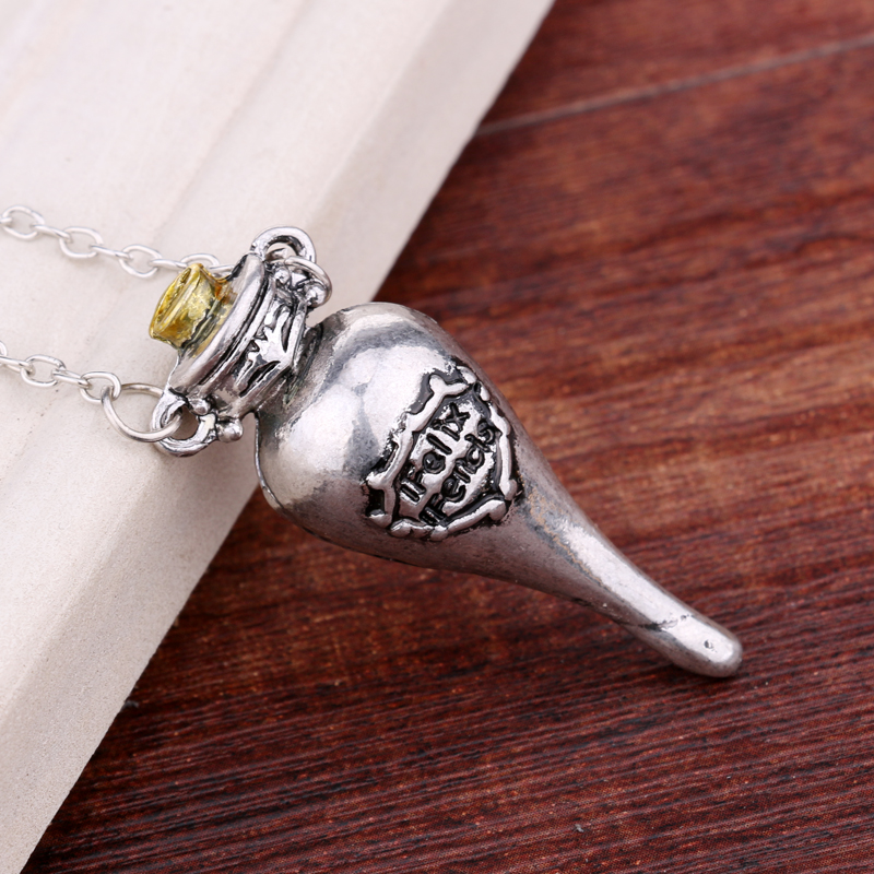 2015 new European and American fashion trend for men Harry Potter vial bronze ancient silver pendant necklace cool necklace(China (Mainland))