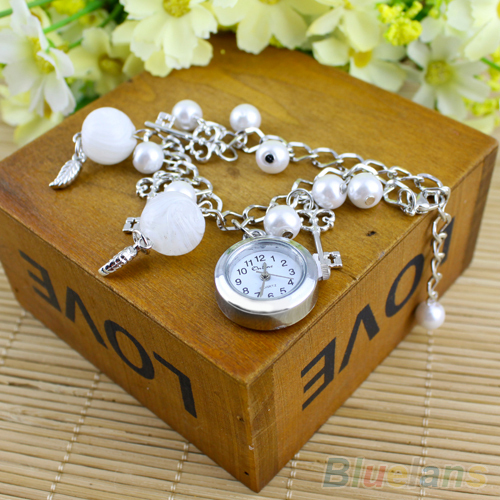 New Hot Selling Womens Girls Casual Pearls Fashion Quartz Charms Leaves Bracelet Casual Stainless Steel Wrist Watch 1NYZ<br><br>Aliexpress