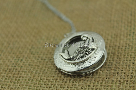 20pcs/lot Andersen's Fairy Tales Mermaid locket necklace Antique personalized jewelry steampunk Unique gift(China (Mainland))